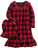 Carter's Girls 4-14 Buffalo Check Nightgown & Doll Dress Set