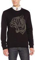Just Cavalli Men's Studded Roaring Tiger Crew Sweatshirt