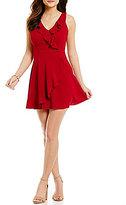 Teeze Me Ruffled Faux-Wrap A-line Dress