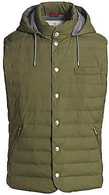 Brunello Cucinelli Men's Hooded Down Quilted Vest
