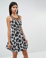 BCBGeneration Halter Dress With Lace Detail