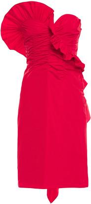 ALEXACHUNG Strapless Gathered Ruffled Taffeta Dress