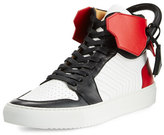 Buscemi 110mm Men's Leather High-Top Sneaker, Black/White/Red