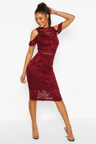 boohoo Lace Crochet Sleeve Detail Midi Dress
