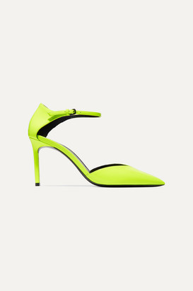 Saint Laurent Anja Neon Patent-leather Pumps - Yellow