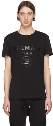 Balmain Black Rubberized Logo T-Shirt