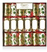 Caspari Gilded Holly Crackers, Box of 6
