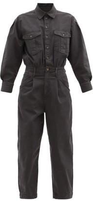 Frame Pleated Denim Jumpsuit - Dark Grey