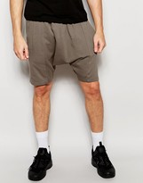 Asos Mid Length Drop Crotch Shorts In Light Brown