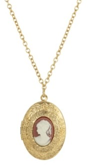2028 Women's Gold Tone Carnelian Cameo Double Locket Necklace