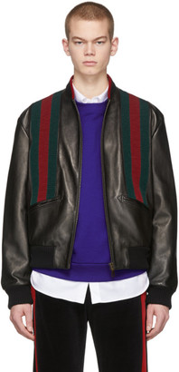 Gucci Black Lambskin Web Bomber Jacket