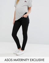 Asos Ridley Skinny Jean In Clean Black With Under The Bump Waistband