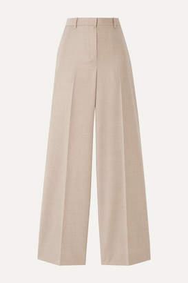 Theory Melange Wool Wide-leg Pants - Beige