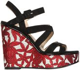 Paul Andrew 120mm Lotus Suede & Jacquard Wedges