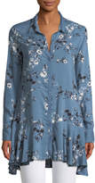 Chelsea & Theodore Floral-Print Button-Front Peplum Tunic