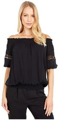 Nicole Miller Off-the-Shoulder Lace Trim Smocked Top (Black) Women's Clothing