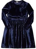 Il Gufo STRETCH-VELVET LONG-SLEEVE DRESS