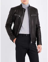 Corneliani Stand-collar Grained Leather Jacket