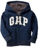 Gap Sherpa-lined arch logo hoodie