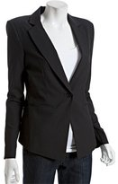 black wool blend padded shoulder one-button blazer