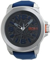 HUGO BOSS 1513355 Watch Men's Orange Stainless steel case, Silicone strap, Patterned Grey dial, Quartz movement, Scratch resistant mineral, Water resistant up to 3 ATM - 30 meters - 100 feet