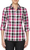 Allison Daley Long Roll-Tab Sleeve Buffalo Plaid Button Front Shirt