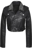 Maje Bloodya Cropped Studded Leather Biker Jacket