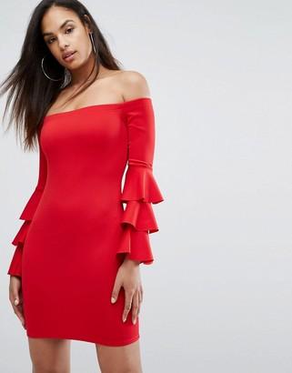 Club L London Bardot Mini Dress With Exaggerated Layered Sleeve Detail