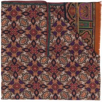 Etro Zalij Pattern-Print Wool Scarf