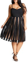 City Chic Pleated Stripe Skirt Dress