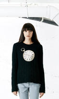 Again Collection - Seven And Seven Embroidered Sweater in Black
