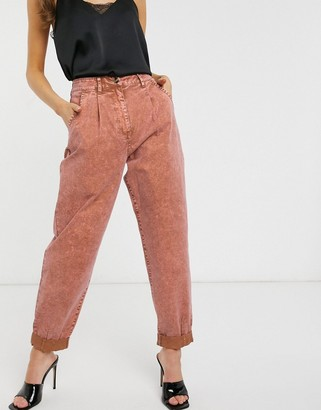 ASOS DESIGN washed balloon leg chino in red brick