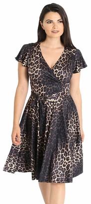 Hell Bunny Women Eartha Leo Leopard Print Dress - 10 Brown