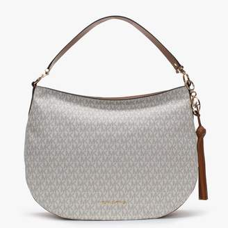 Michael Kors Large Brooke Vanilla & Acorn Logo Hobo Bag