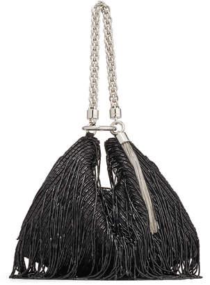 Jimmy Choo CALLIE Black Satin Clutch Bag with Beaded Fringe Embroidery