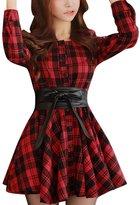 Allegra K Women Plaids Long Sleeves Belted A Line Shirt Dress S Black