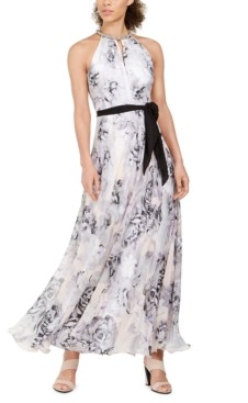 Calvin Klein Floral-Print Chiffon Gown