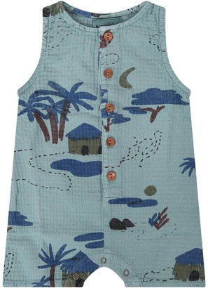 Bobo Choses Green Rompers With Stylised Trees