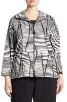 Caroline Rose Lines & Vines Striped Stretch-Cotton Jacket