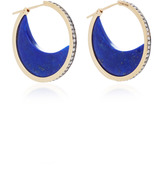 Noor Fares Chandra Crescent Earrings in Yellow Gold with Lapis Lazuli Crescents & Diamonds