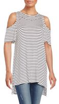 Bobeau Striped Grommet-Trim Cold-Shoulder Top