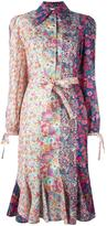 Olympia Le-Tan floral print belted shirt dress - women - Cotton - 36