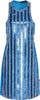 David Koma Embroidered Stripe Mini Dress