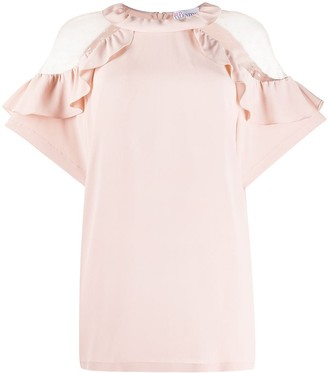 RED Valentino Ruffled Lace-Embellished Blouse