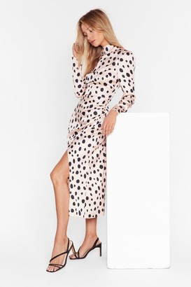 Nasty Gal Womens Who's That Lil Spot-tie Satin Midi Dress - Beige - 6, Beige