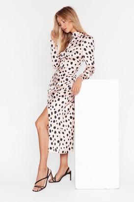 Nasty Gal Womens Who's That Lil Spot-tie Satin Midi Dress - Beige - 8, Beige