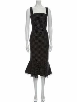 Dolce & Gabbana Polka Dot Print Long Dress w/ Tags Black