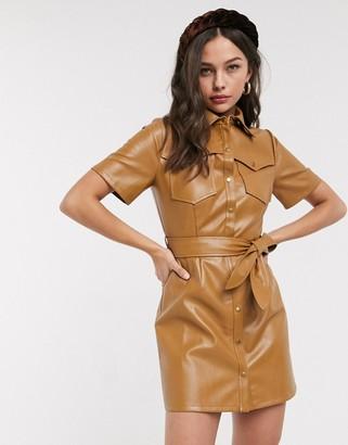 Moon River faux leather mini dress-Brown