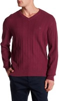 Original Penguin Long Sleeve Herringbone V-Neck Sweater