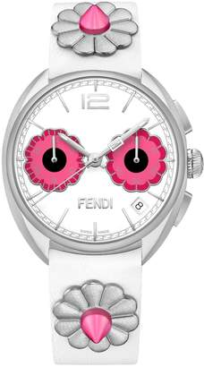 Fendi Momento Flowerland Stainless Steel & Leather-Strap Watch